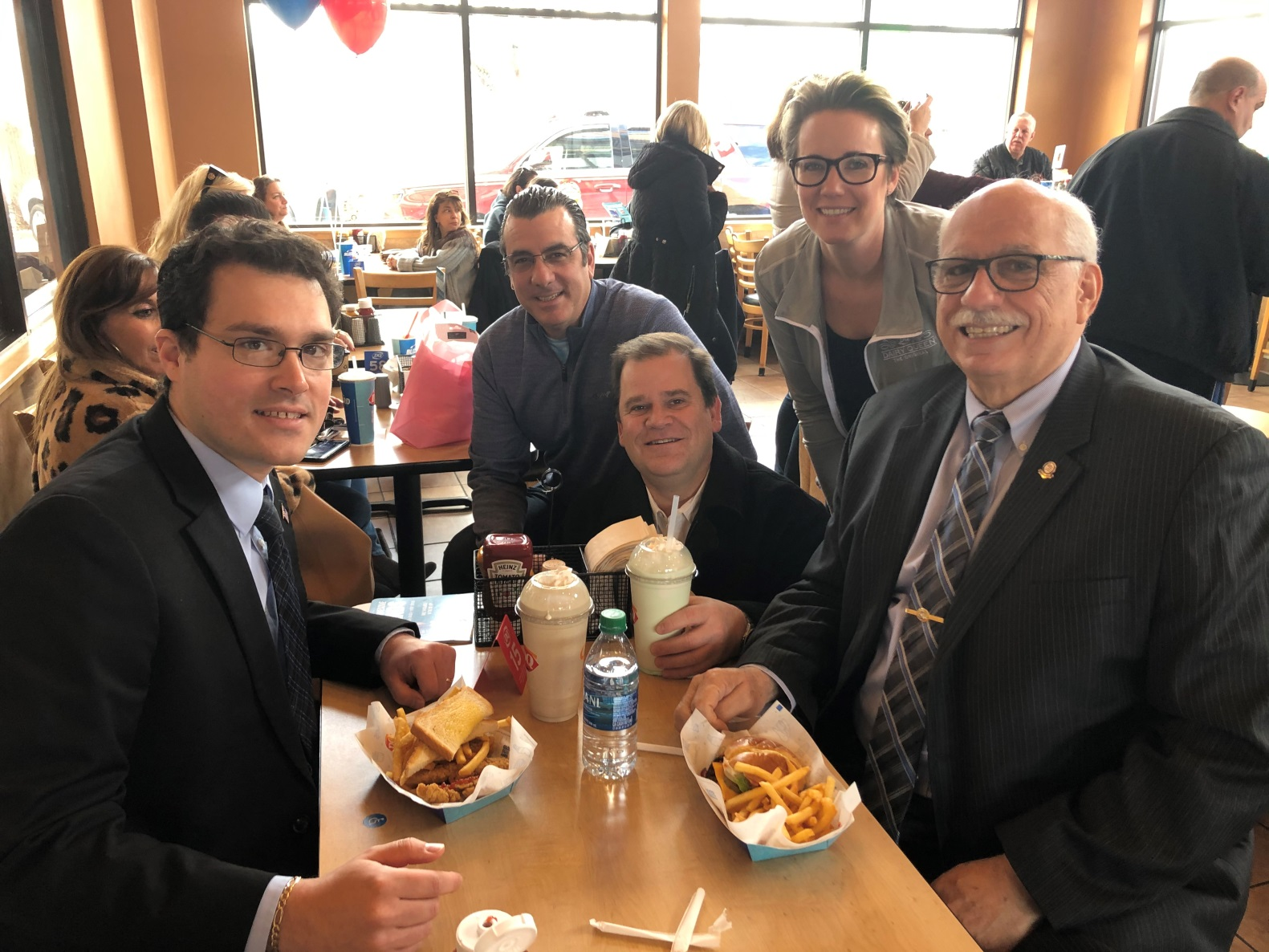 Assemblyman John Mikulin (R,C,I-Bethpage) joined (from left to right) Councilman Dennis Dunne, Jeff Pravato, receiver of taxes, Councilwoman Laura Maier and Dennis McGrath at the North Massapequa Fire