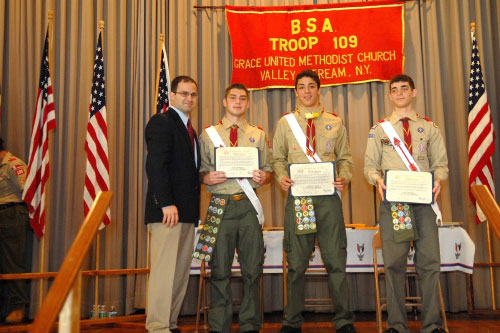 Assemblyman Ra congratulates Valley Stream Eagle Scouts for their commitment to the community.