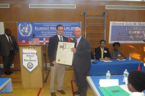 Assemblyman Ra presents an Assembly Proclamation to Lee Marcus, the founder of the Elmont Model United Nations program. Assemblyman Ra recognized Mr. Marcus for his invaluable contributions to the Elmont School District and Model United Nations.