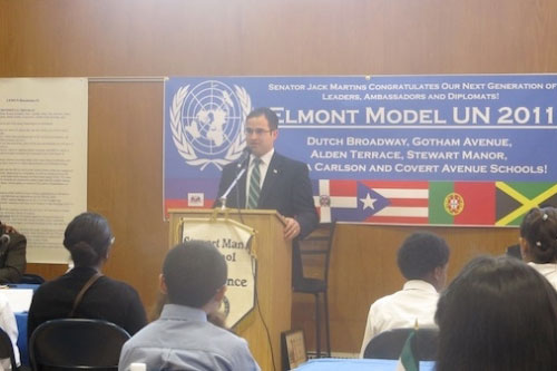 Assemblyman Ra speaks speaks at the Model United Nations conference at Stewart Manor School. Assemblyman Ra spoke to students from each of Elmont School District's six participating schools, including Alden Terrace, Covert Avenue, Clara H. Carlson, Dutch Broadway, Gotham Avenue, and Stewart Manor - discussing issues in the Model United Nations today will prepare these young adults to be the leaders of tomorrow.