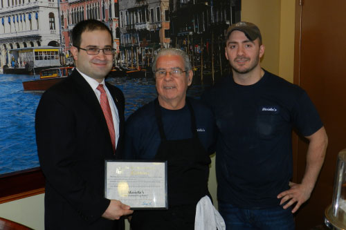 Assemblyman Ed Ra stops by Mariella's Pizza Parlor in Franklin Square during the grand opening of their business. Welcome to the community and best of luck to your business!