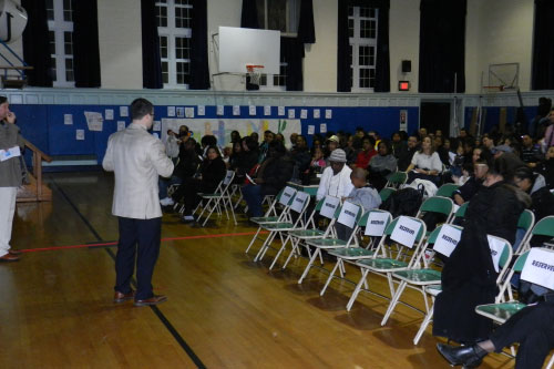 Assemblyman Ed Ra attends the Gateway Youth Outreach organization's Dr. Martin Luther King Jr. performance at Gotham Avenue Elementary School in Elmont. Students recited poems commemorating Dr. King and performed dances to modern hits.