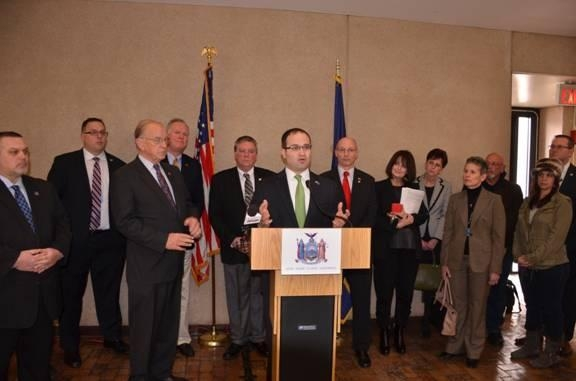 Assemblyman Ed Ra speaks during a recent press conference highlighting the need to disclose important school aid information