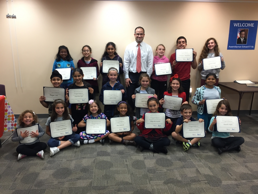 Assemblyman Ed Ra hosts a celebration to recognize the efforts of the 2015 Summer Reading Challenge participants. The event took place in early October at the Hillside Public Library.