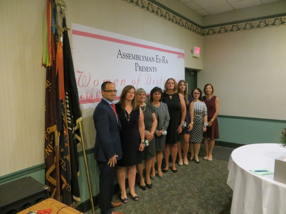 In photo from left to right: Assemblyman Ed Ra (R-Franklin Square), Danielle Messina (Garden City Park), Nancy Benchimol (Glen Head), Nina Harris (Albertson), Maureen McEnerney (Garden City), Cristina