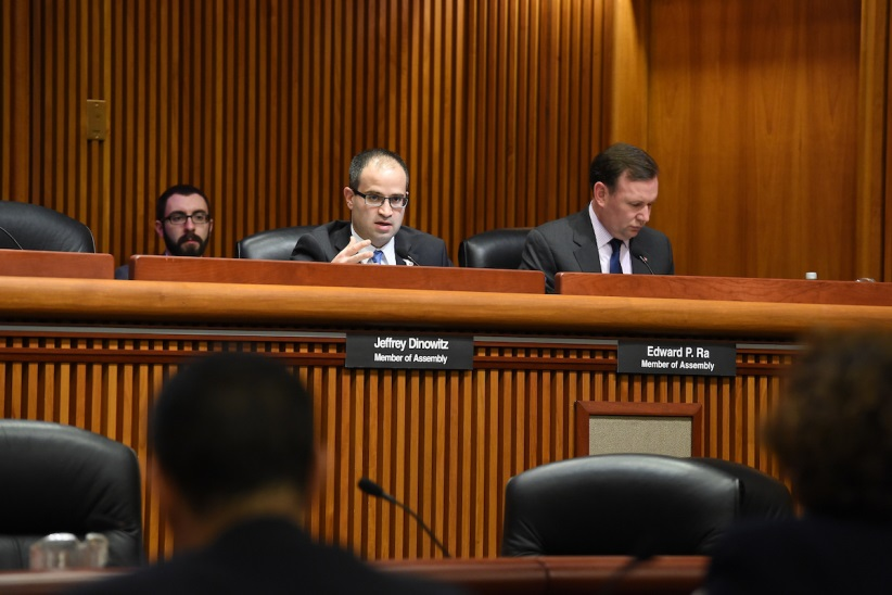 Assemblyman Ed Ra (R-Franklin Square) questions DOT Commissioner Driscoll at Wednesday's Joint Budget Hearing in Albany