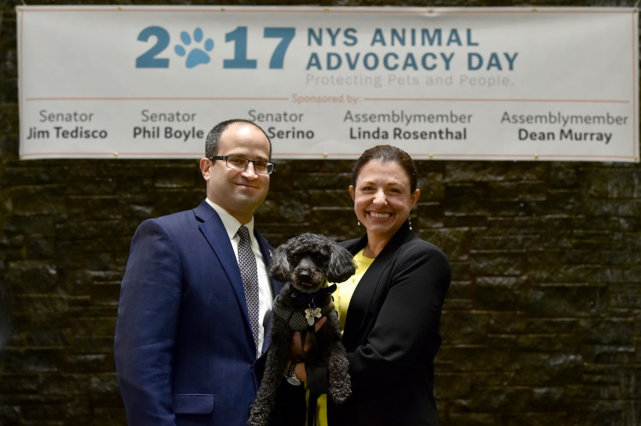 Assemblyman Ed Ra (R-Franklin Square) was joined in Albany by his wife Laura and their dog Carter for the legislature's 7th Annual Animal Advocacy Day
