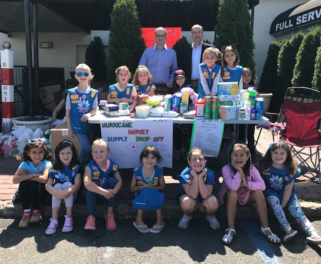 Assemblyman Ed Ra (R-Franklin Square) hosted a disaster relief drive for Hurricane Harvey with Girl Scout Troop 1888 and Rock Out Cures Inc.