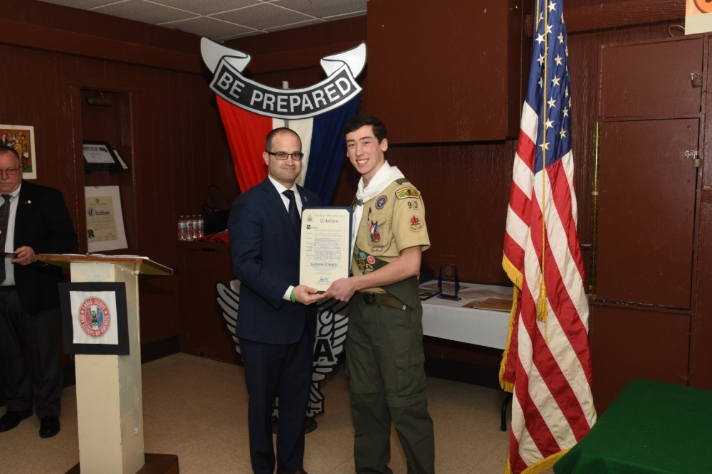 Assemblyman Ed Ra (R-Franklin Square) presented a citation to Franklin Square's newest Eagle Scout Connor O'Grady of Troop 93 on Friday, January 5.