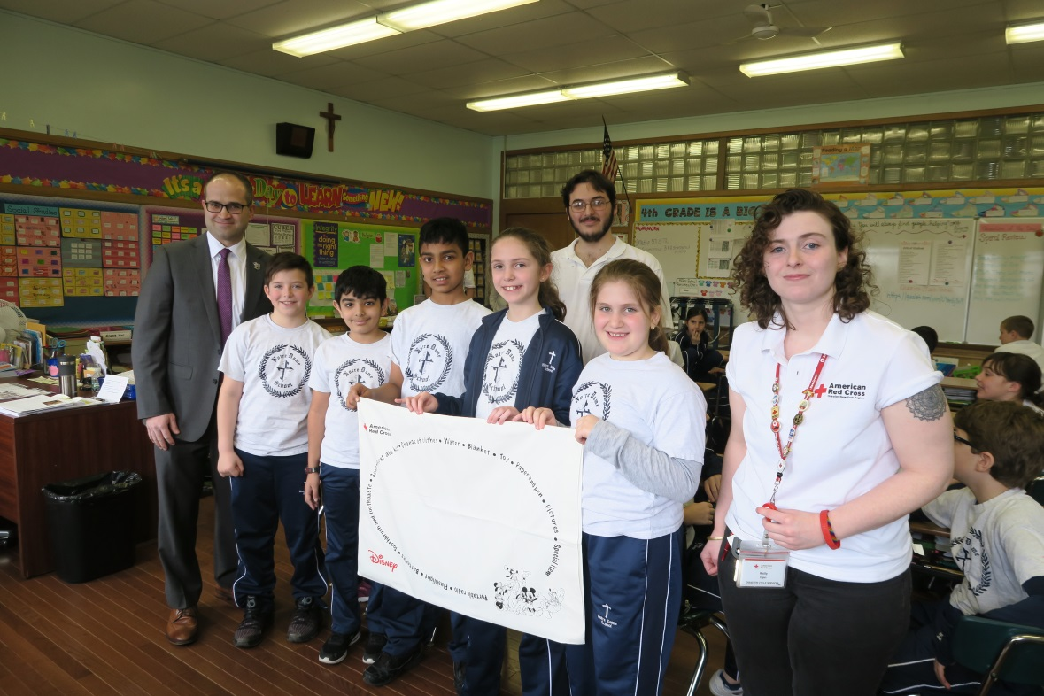 Assemblyman Ed Ra (R-Franklin Square), with fourth graders from Notre Dame School and presenters from the American Red Cross took part in the Pillowcase Project on Tuesday, April 10.