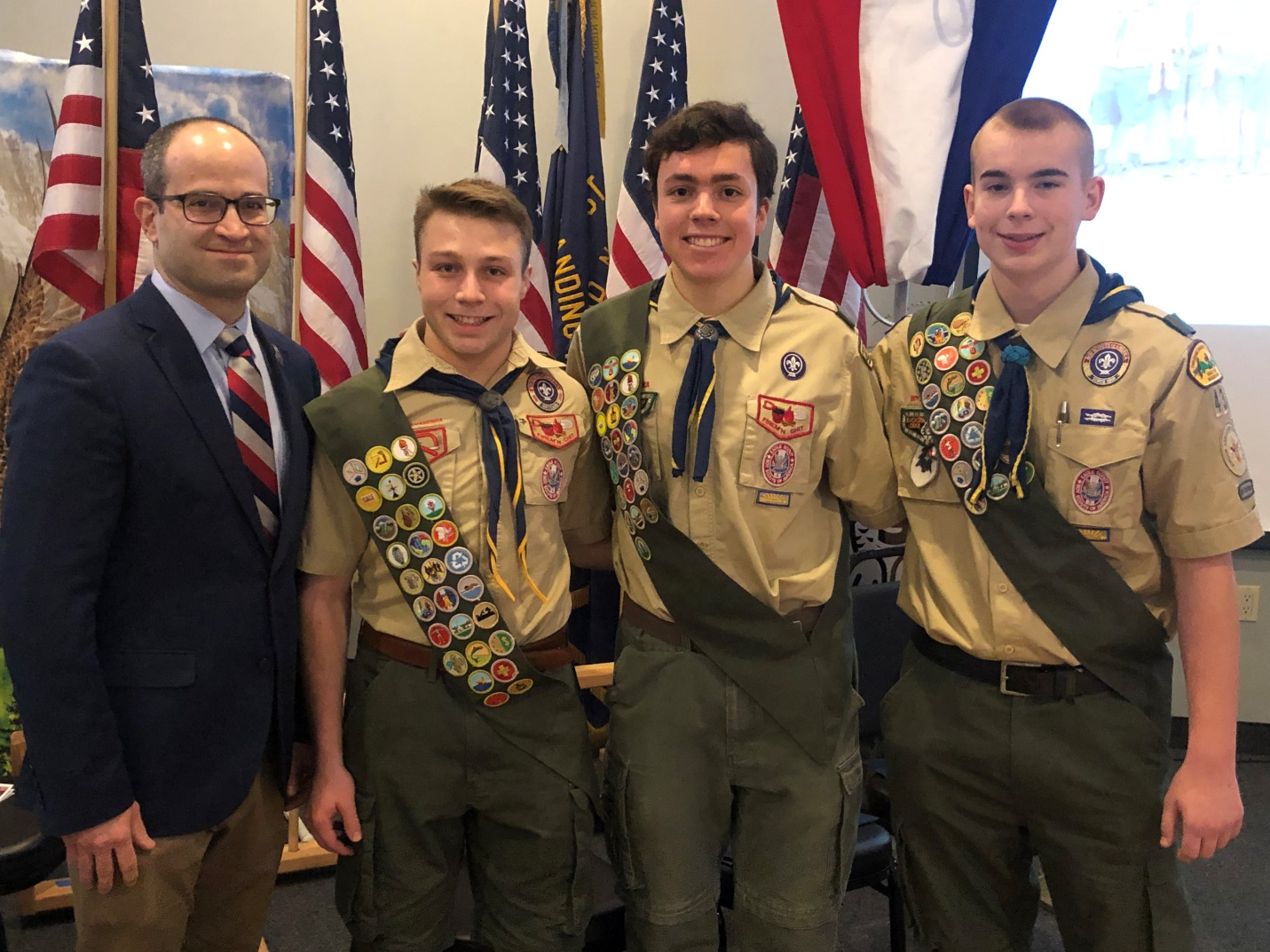 Assemblyman Ed Ra (R-Franklin Square) with Eagle Scouts Alexander Leonard DeMeo, Luke Martin and John Jake Sasso.
