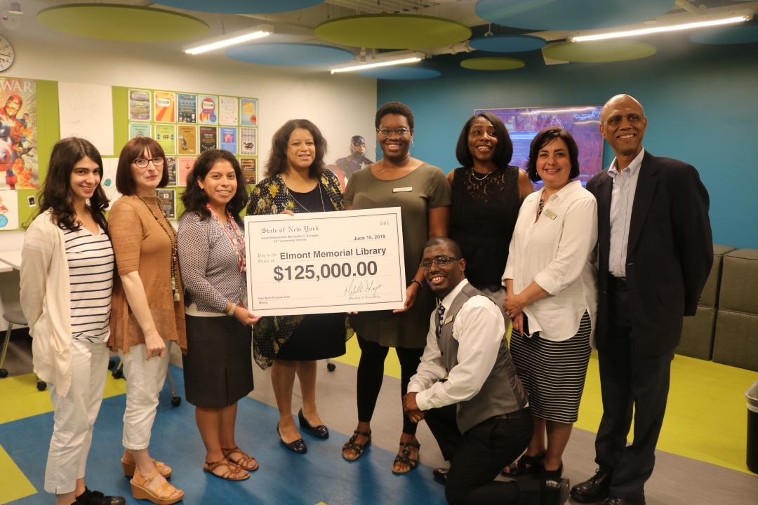 Assemblywoman Solages allocates a $125k grant for a teen multi-purpose room in Elmont Memorial Library.