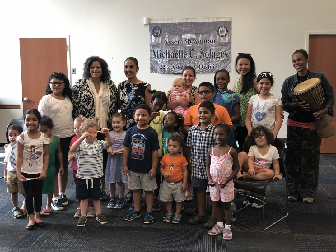 Assemblywoman Solages hosted a Summer Reading Hour with Layla's Dance & Drum of Valley Stream, Elmont Memorial Library, and Hempstead Town Clerk Sylvia A. Cabana.