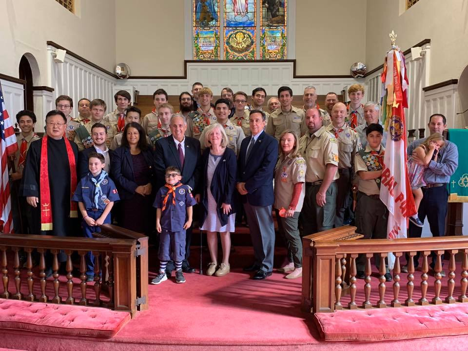 Celebrating the 105th Anniversary of Floral Park Boy Scouts Troop 4 with Village of Floral Park, Mayor Longobardi and Village Trustees at the United Methodist Church of Floral Park.