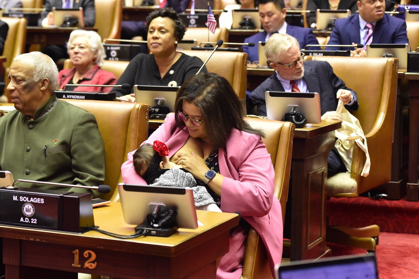 In 2019, Assemblywoman Michaelle Solages made State history when she breastfed her infant daughter on the floor of the State Assembly during the opening day of the legislative session.