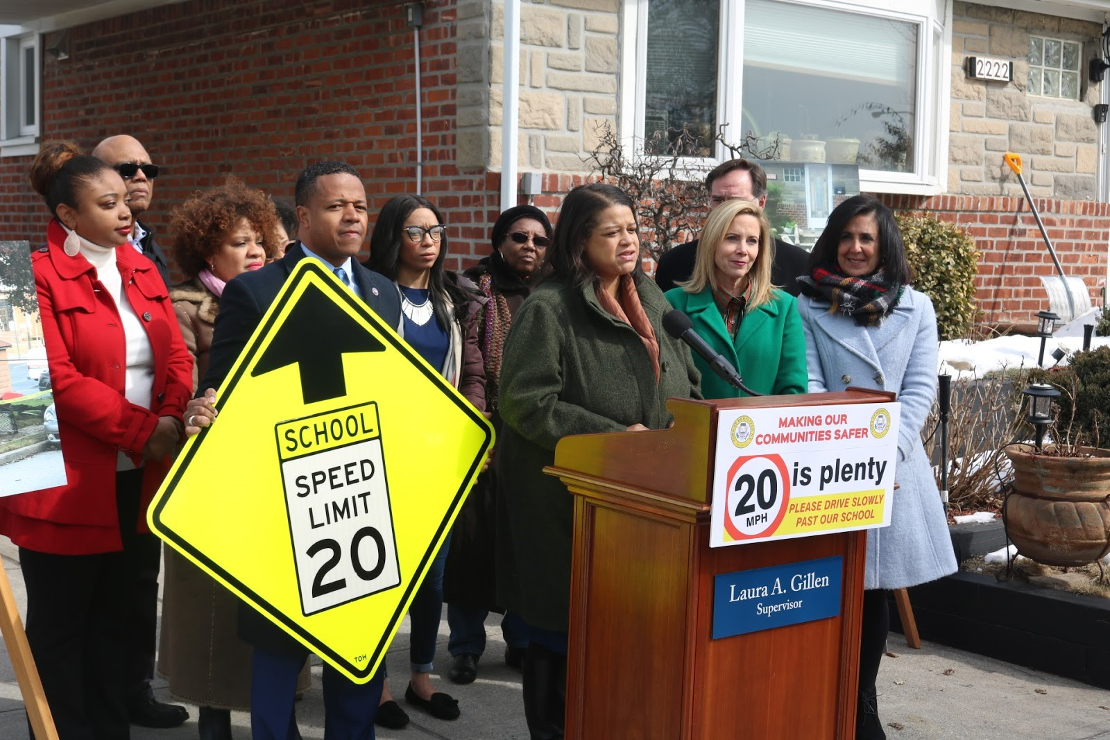 Assemblywoman Solages holds a press conference with local officials to change the speed limit on Dutch Broadway in Elmont, N.Y.