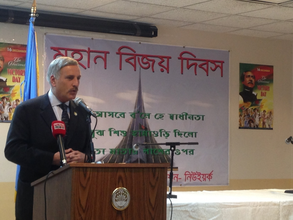 Assemblyman David Weprin discusses the contributions of the Bangladeshi community at the Permanent Mission of Bangladesh Mission to the UN.