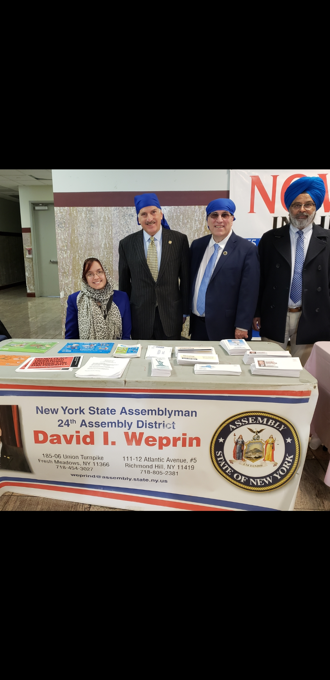 Assemblyman Weprin attended the Sikh Cultural Society Community Resource Fair with staff members Casey Lajszky, Harpreet Singh Toor, and Anthony Lemma to provide information to residents on City and S