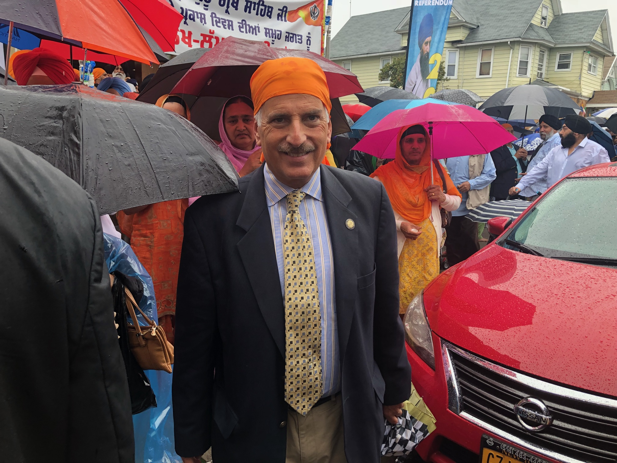Assemblyman David Weprin marches in the Sikh Cultural Society Parade in Richmond Hill commemorating the anniversary of the installation of the Guru Granth Sahib Ji in the Sikh Golden Temple in India.