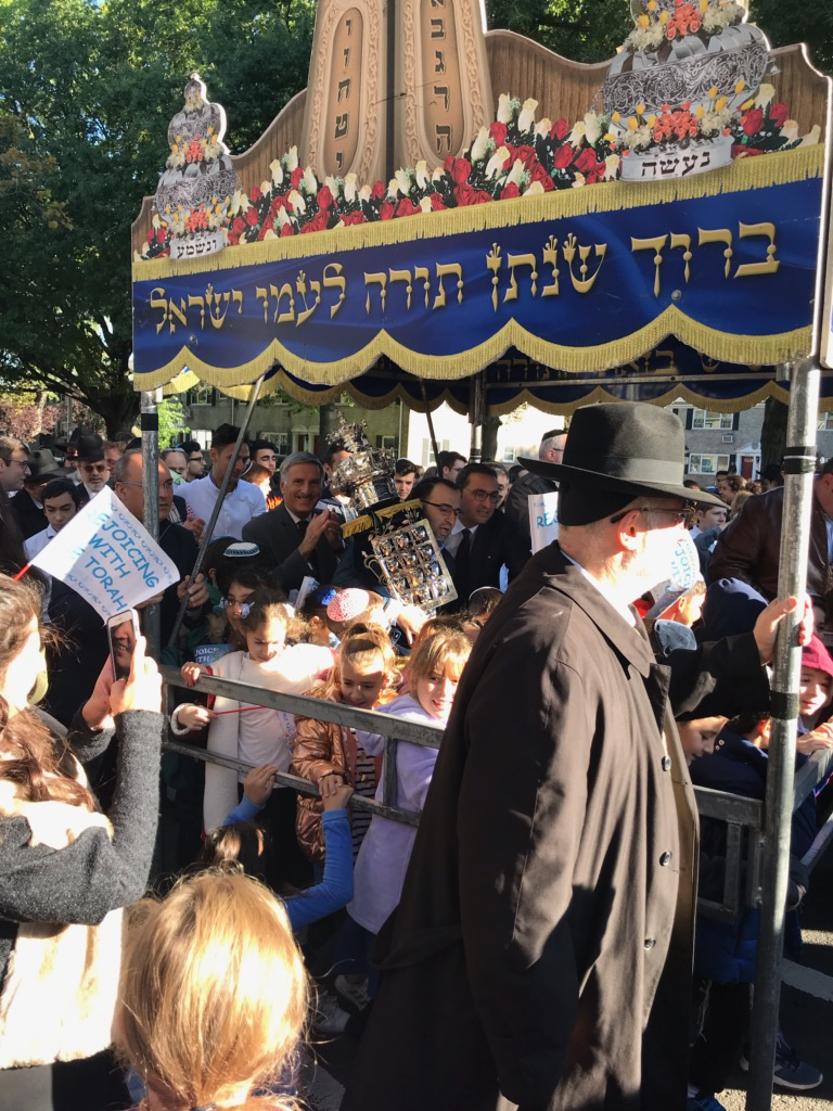 Assemblyman David Weprin joined Rabbi Landsman and students from the Yeshiva of Central Queens in an outdoor dedication of a Sefer Torah in memory of former graduate Adeena Paknoush.