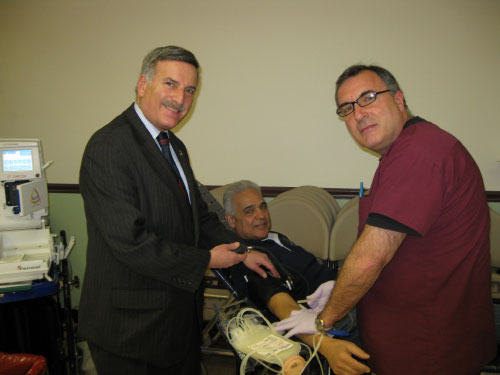 Assemblyman Weprin taking Nick Pellegrino of Floral Park's blood pressure with the help of Donor Specialist, Ralph DiSalvo at the community blood drive at the Young Israel of New Hyde Park on Sunday March 6. The drive was sponsored by six Eastern Queens and Nassau County synagogues.