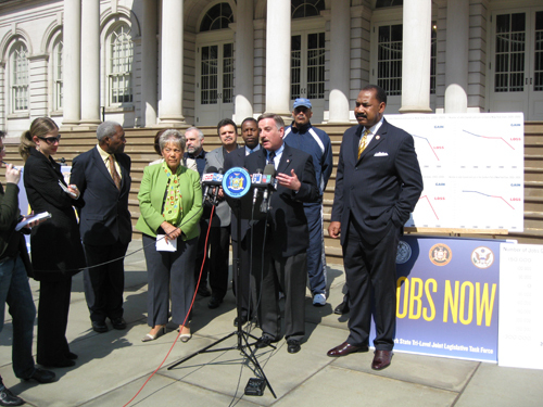 Assemblymember David I. Weprin speaking at a Jobs for the 21st Century press conference convened by the New York State Tri-Level Joint Legislative Task Force,  City Hall, New York, March 21, 2010.