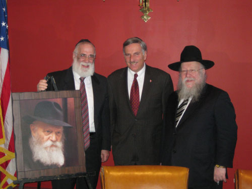 Yisroel Rubin, head of the Chabad of the Capital District, Assemblymember David Weprin, and Shmuel Butman, Head of the Lubavitch Youth Organization, at a luncheon in Albany commemorating the 109th Anniversary of the Lubavitcher Rebbe Rabbi Menachem Schneerson's birth. A resolution was passed on March 28, 2011 calling for 109 days of education in honor of the Rebbe's 109th birth anniversary.