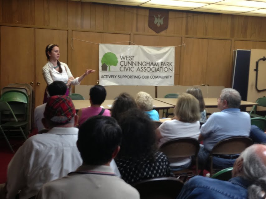 Assemblywoman Nily Rozic discussed community issues with the West Cunningham Park Civic Association.