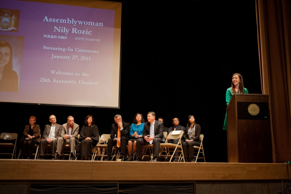 Assemblywoman Nily Rozic celebrates her swearing-in with friends, family, colleagues, and community members at Townsend Harris High School in Flushing.<br /><br />