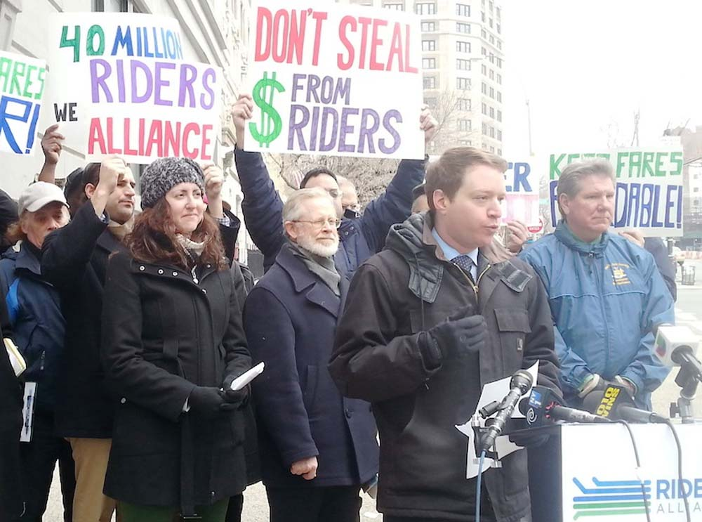 Assemblywoman Nily Rozic joined Riders Alliance and transit advocates to call on the MTA to invest a $40 million unexpected surplus in restoring and expanding transit service.<br /><br />