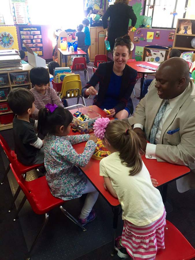 Assemblywoman Nily Rozic and Deputy Mayor Richard Buery visited the pre-K program at Jack 'n' Jill School II in Fresh Meadows.<br />