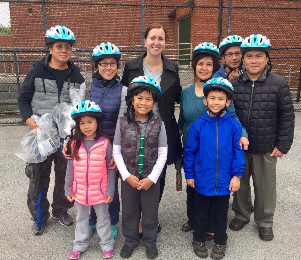 Assemblywoman Nily Rozic teamed up with the City Department of Transportation to organize a free bike helmet giveaway that was held at P.S. 46 Alley Pond School.