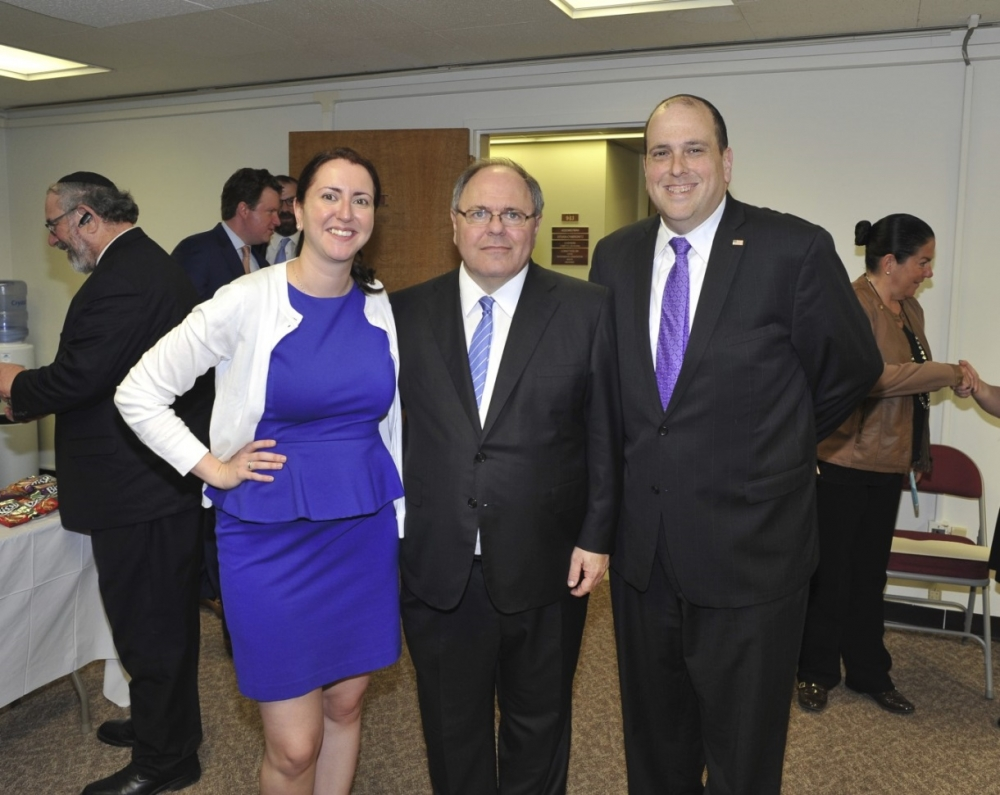Assemblywoman Nily Rozic, Ambassador Dani Dayan, and Assemblyman Michael Simanowitz, at the Ambassador's welcome reception.<br />