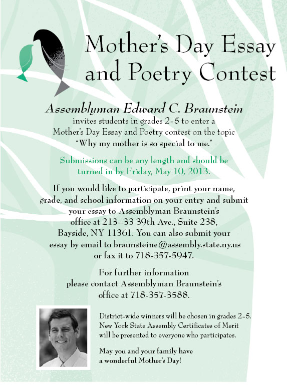 new york state assembly  edward c braunstein mothers day essay and poetry contest