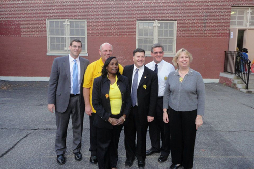 On Thursday, October 21, 2011, Assemblyman Braunstein visited PS 115Q's Lights on After School program in Floral Park, pictured here with Parent Coordinator Kevin Burke; the Director of the After School program, Glynis Harrison; Councilman Mark Weprin; Principal James Ambrose; and Assistant Principal Kathleen Sciortino.