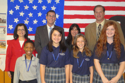 On Thursday, October 21, 2011, Assemblyman Braunstein inducted Officers and Class Representatives into the Student Council at Divine Wisdome Catholic Academy at St. Anastasia's Parish in Douglaston, pictured here with Principal Michael A. LaForgia, Student Council Moderator Ms. M. Pagano, Chairperson for the Board of Directors Suzanne Karl, and the Divine Wisdom Catholic Academy Student Council Officers.