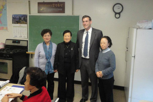 On Friday, October 28, 2011, Assemblyman Edward C. Braunstein visited an English as a Second Language course at the Korean American Community Center of New York, pictured here with Sunny Kim, Executive Director of KACCNY.