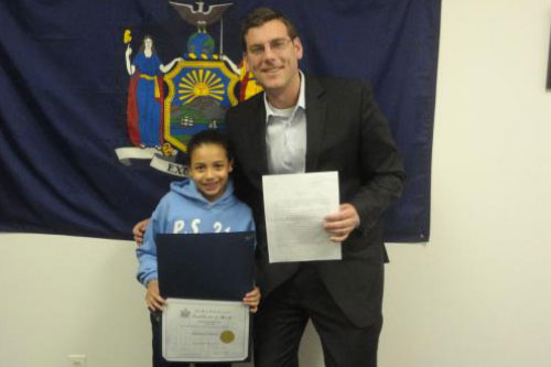 Congratulations to the 4th Grade Grand Prize Winner of Assemblyman Braunstein's Halloween Essay and Drawing Contest 2011, Precious Cintron.