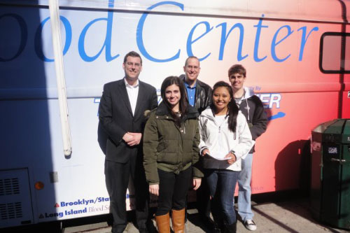 On Monday, April 2, 2012, Assemblyman Braunstein sponsored a blood drive in conjunction with the New York Blood Center, pictured here with his staff and interns.