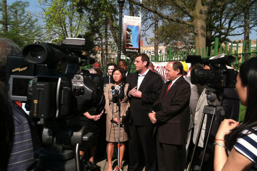 On Monday, April 16, 2012, Assemblyman Braunstein attended a rally against the proposed closure of Flushing High School, pictured here with colleagues, Assemblywoman Grace Meng and Assemblyman Rory Lancman.