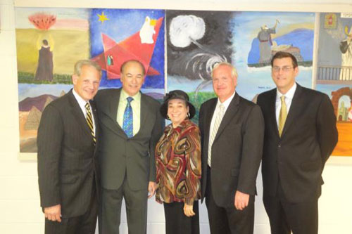 Assemblyman Braunstein joined Congressman Steve Israel and Senator Tony Avella at the Samuel Field Y for a special briefing on Israel and the Middle East, pictured here with Congressman Steve Israel, Executive Vice President and CEO Steve Goodman, Executive Director of Queens Jewish Community Council Cynthia Zalisky and Senator Tony Avella.