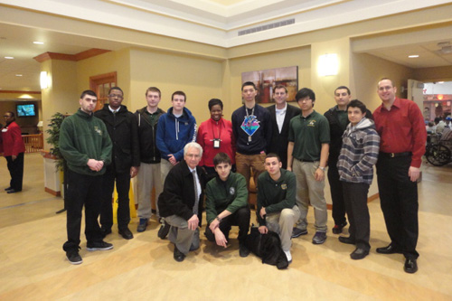 On Thursday, February 14, 2013, Assemblyman Braunstein and his staff, along with the students of Holy Cross High School, delivered donations from the 17th Annual Valentines for Vets gift drive to the