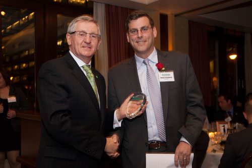 On Thursday, February 21, 2013, Assemblyman Braunstein was selected as the Emerald Honoree and Keynote Speaker for the Irish Echo's Top 40 Under 40, pictured here with the Consul General of Ireland No