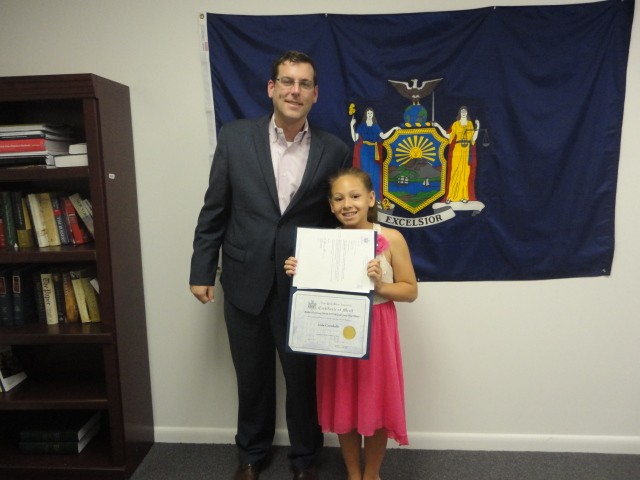 On Monday, June 24, 2013, Assemblyman Braunstein congratulated the 5th Grade Grand Prize Winner of his Mother's Day Essay and Poetry Contest 2013, Jada Caraballo.