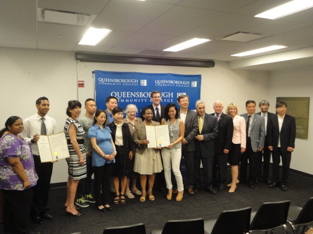 On Wednesday, June 26, 2013, Assemblyman Braunstein joined Senator Toby Ann Stavisky, Assemblyman Ron Kim, and Assemblyman Charles Lavine, in presenting a resolution, honoring the Harriet & Kenneth Kupferberg Holocaust Resource Center and Archives at Queensborough Community College, and Korean American Civic Empowerment, for their devoted work on behalf of Comfort Women. Assemblyman Braunstein is pictured here with Senator Toby Ann Stavisky, Assemblyman Ron Kim, Assemblyman Charles Lavine, Dr. Arthur Flug, Executive Director of the Harriet & Kenneth Kupferberg Holocaust Resource Center and Archives, Dr. Diane Call, President of Queensborough Community College (QCC), Dongchan Kim, President of Korean American Civic Emplowerment (KACE), Esther Lee, Board Chair of KACE, Dongsuk Kim, KACE Steering Committee Chair, Paul Yoo, President of Korean American Association of Queens, and QCC Comfort Women Interns.