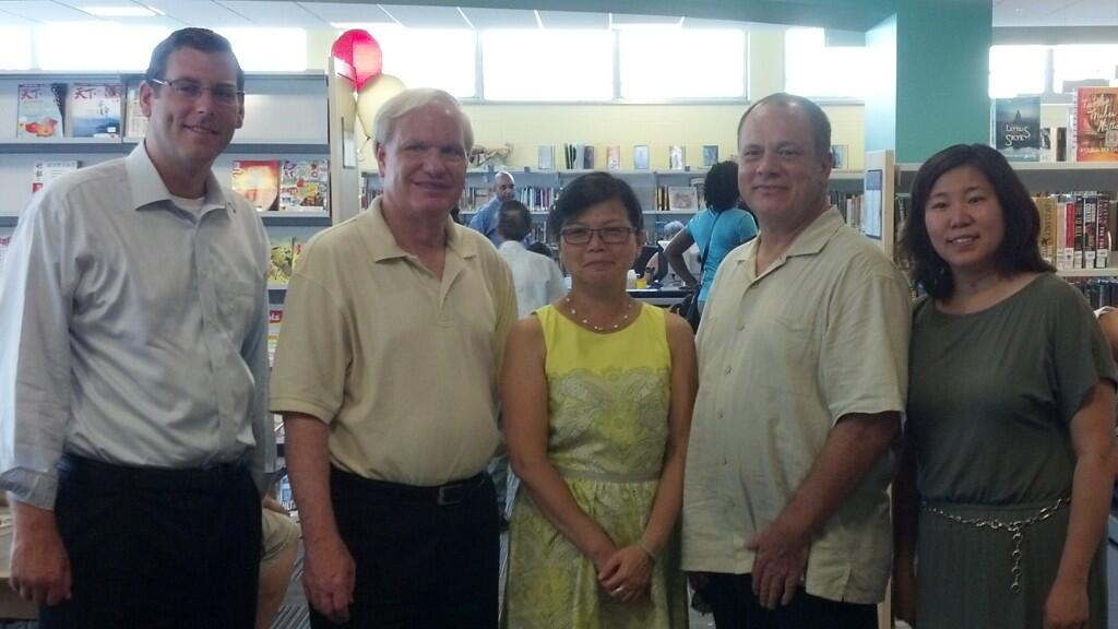 On Saturday, July 20, 2013, Assemblyman Braunstein attended the Reopening Celebration at the Queens Library at Bayside. Assemblyman Braunstein is pictured here with Senator Tony Avella, Jean Lee, Quee