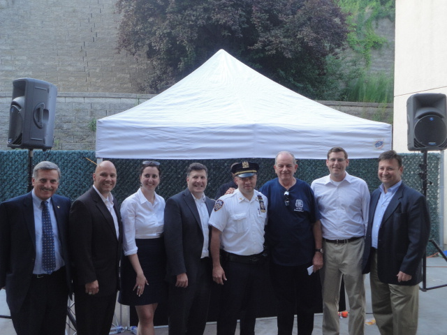 On Tuesday, August 6, 2013, Assemblyman Braunstein attended the 111th Precinct National Night Out Against Crime in Douglaston. Assemblyman Braunstein is pictured here with his colleagues and 111th Precinct Commanding Officer Captain Jason Huerta and 111th Precinct Community Council President Jack Fried.
