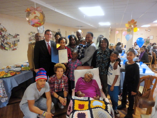 On Saturday, October 26, 2013, Assemblyman Braunstein presented a citation to Pearl Webster at the Little Neck Nursing Home in honor of her 100th birthday.