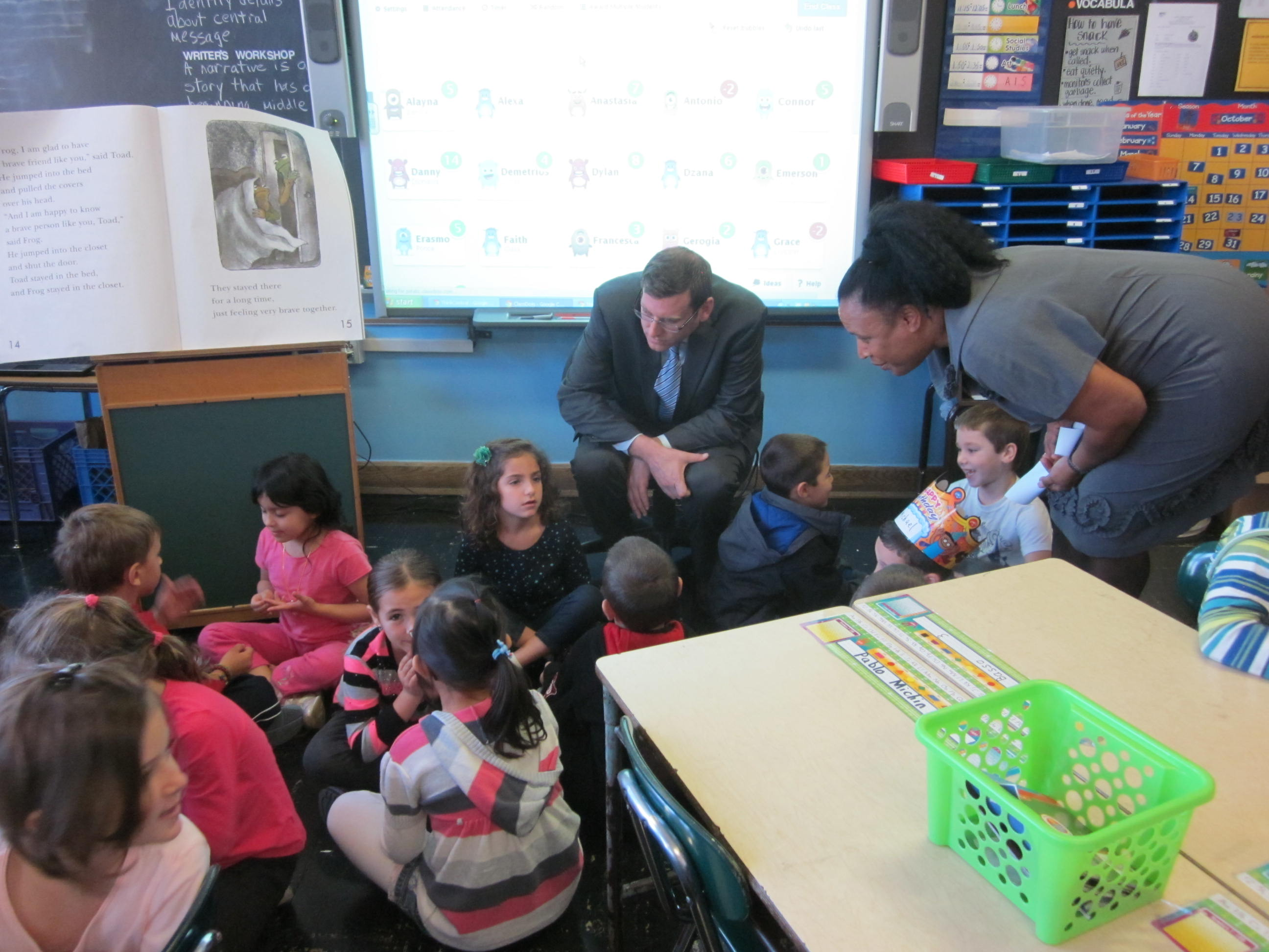 He is pictured here with Principal Joyce Bush visiting a first grade classroom.