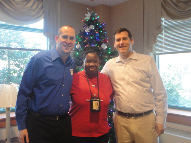 On December 19, 2013, Assemblyman Braunstein delivered donations from his annual Veterans' gift drive to the New York State Veterans' Home at St. Albans, pictured here with Chief of Staff David Fische